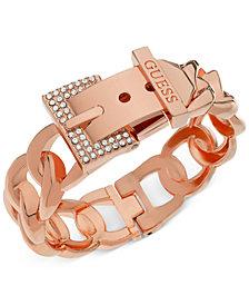 GUESS Rose Gold-Tone Crystal Buckle Hinge Bangle Bracelet