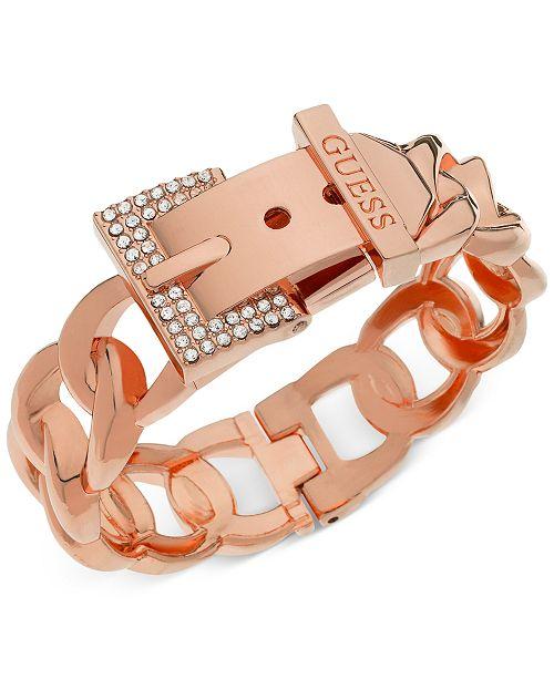 4bc16e015160e GUESS Rose Gold-Tone Crystal Buckle Hinge Bangle Bracelet & Reviews ...