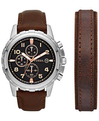 fossil men 39 s chronograph dean dark brown leather bracelet. Black Bedroom Furniture Sets. Home Design Ideas
