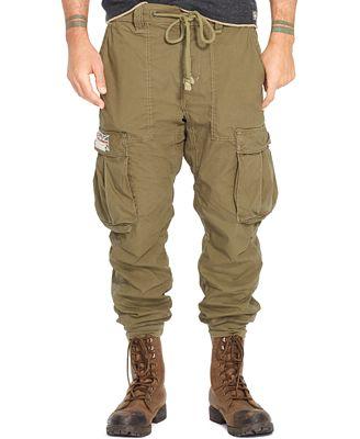 Denim & Supply Ralph Lauren Men's Solid Cotton Jogger Cargo Pants ...