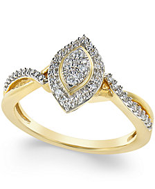 Diamond Marquise Promise Ring (1/4 ct. t.w.) in 10K Gold