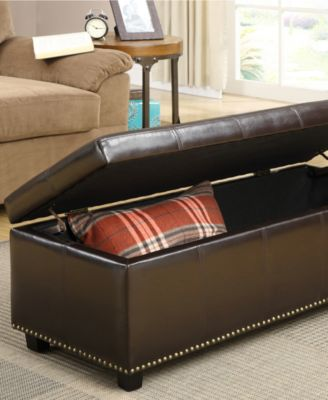 Furniture Rhodes Faux Leather Rectangular Storage Ottoman, Quick Ship    Furniture   Macyu0027s