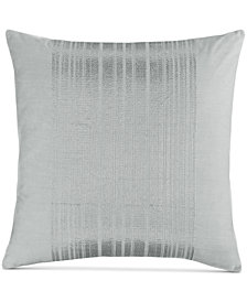 "Calvin Klein Acacia 18"" Square Silver Stripes Decorative Pillow"