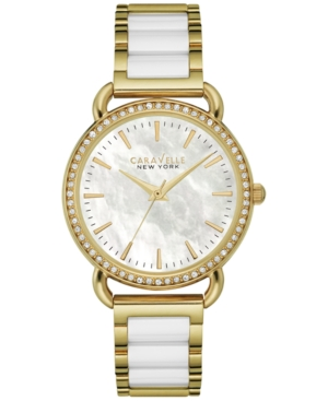 Caravelle New York by Bulova Women's White Ceramic and Gold-Tone Stainless Steel Bracelet Watch 34mm 44L172