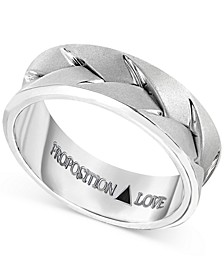 Men's Braided Wedding Band in 14k White Gold