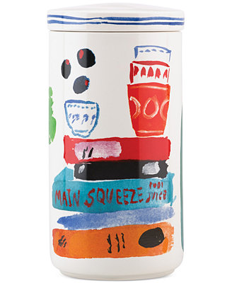 All In Good Taste Illustrated Tall Stoneware Canister by Kate Spade New York