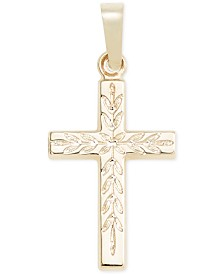 Small Leaf Cross Pendant in 14k Gold