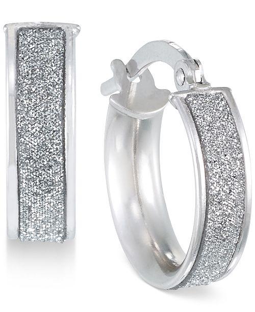 Italian Gold Glitter Hoop Earrings In 14k Rose White Or Jewelry Watches Macy S
