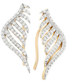 wrapped™ Diamond Leaf Ear Cuff Earrings (1/3 ct. t.w.) in 10k Yellow Gold, Created for Macy's
