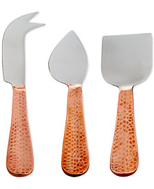 Thirstystone Stainless Steel Hammered Copper 3-Pc. Cheese Set