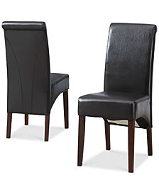 Easton Set of 2 Faux Leather Deluxe Parson Chairs, Quick Ship