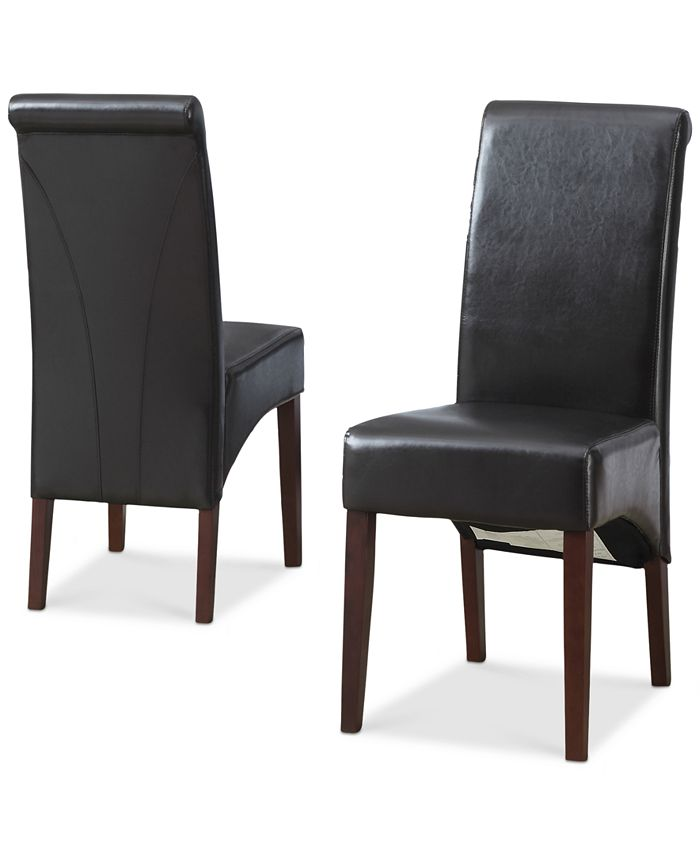 Simpli Home - Avalon Set of 2 Faux Leather Deluxe Parson Chairs, Direct Ship