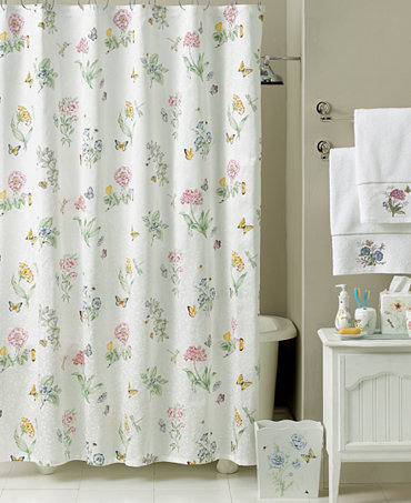 Lenox butterfly meadow shower curtain bath collection - Bathroom shower curtains and accessories ...