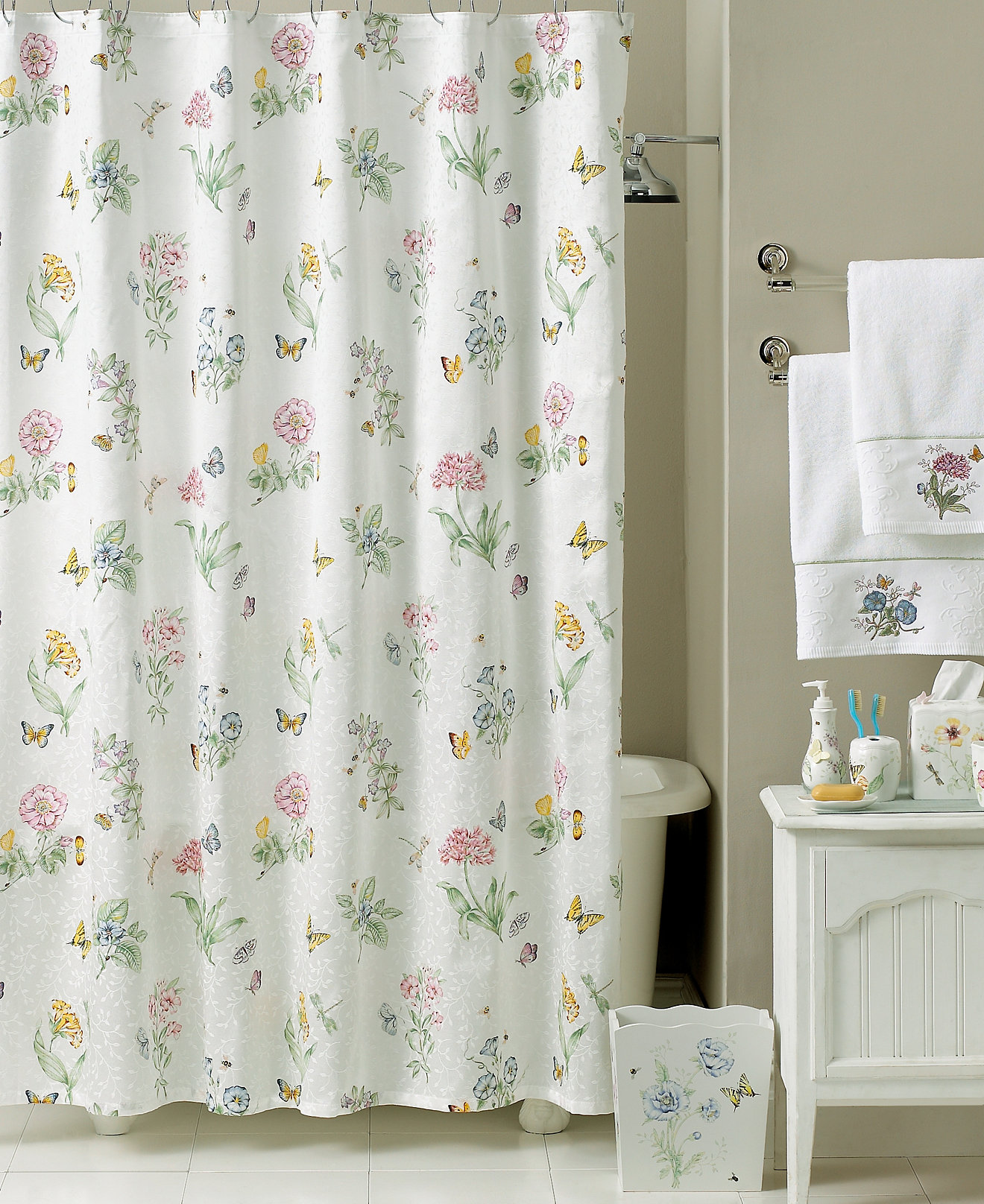 Mint green shower curtain and rugs - Lenox Butterfly Meadow Shower Curtain Bath Collection Bathroom Accessories Bed Bath Macy S