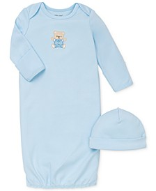 Baby Boys Cute Bear Hat & Gown Set