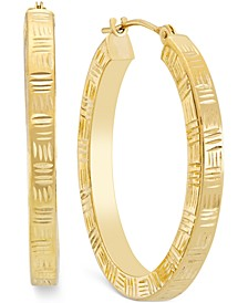 Etched Hoop Earrings in 10k Gold