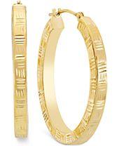 Etched Hoop Earrings in 10k Gold
