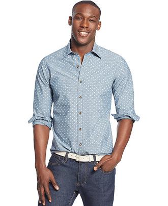 Club Room Long-Sleeve Chambray Paisley Shirt - Casual