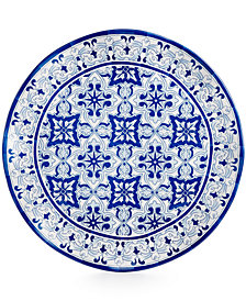 "Q squared Talavera Azul Collection Melamine 16"" Serving Platter"