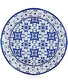 "Q squared Talavera Azul Collection Melamine 16"" Serving Platter"