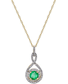 "Sapphire (1/2 ct. t.w.) and Diamond (1/4 ct. t.w.) 18"" Necklace in 14k White Gold (Also available in Emerald or Ruby in 14k)"