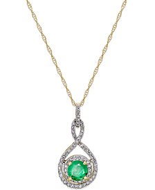 "Emerald (1/2 ct. t.w.) and Diamond (1/4 ct. t.w.) 18"" Necklace in 14k Yellow Gold"