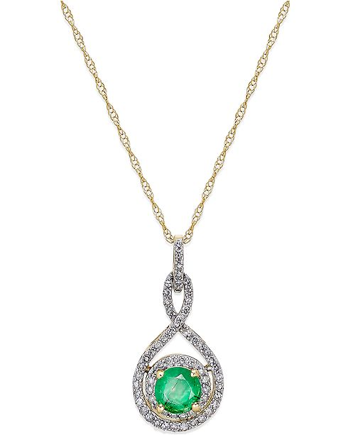 """Macy's Emerald (1/2 ct. t.w.) and Diamond (1/4 ct. t.w.) 18"""" Necklace in 14k White Gold (Also available in Ruby in 14k)"""