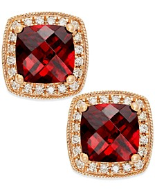Garnet (2-1/4 ct. t.w.) and Diamond Accent Stud Earrings in 14k Rose Gold