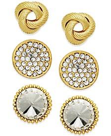 Gold-Tone Stud Earring Set