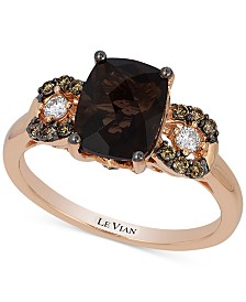 Le Vian Chocolatier® Chocolate Quartz (1-9/10 ct. t.w.) and Diamond (1/5 ct. t.w.) Ring in 14k Rose Gold, Created for Macy's