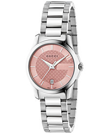 Gucci Women's Swiss G-Timeless Stainless Steel Bracelet Watch 27mm YA126524