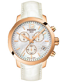 Tissot Women's Swiss Chronograph Quickster White Leather Strap Watch 42mm 758499248587