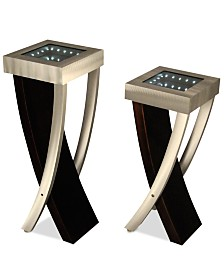 Nova Lighting Set of 2 Boar Pedestal Aluminum & Wood Floor Lamps