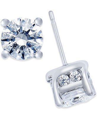 Macy S Diamond Stud Earrings 2 Ct T W In 14k White Gold