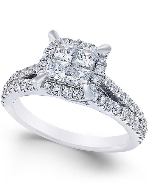 Macy's Square Quad Halo Diamond Engagement Ring (1 ct. t.w.) in 14k White Gold