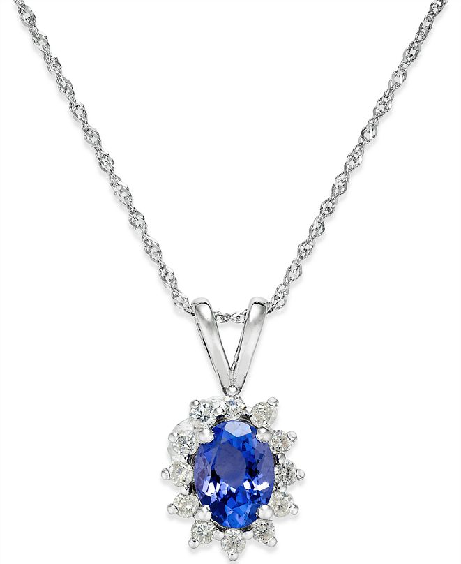 Macy's Tanzanite (3/4 ct. t.w.) and Diamond (1/5 ct. t.w.) Pendant Necklace in 14k White Gold
