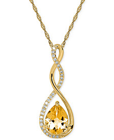 "Birthstone and Diamond (1/10 ct. t.w.) 18"" Pendant Necklace in 14k White or Yellow Gold"