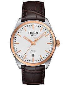 Men's Swiss PR 100 Brown Leather Strap Watch 39mm T1014102603100