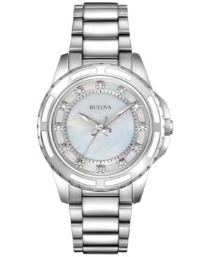 Bulova WOMEN'S DIAMOND ACCENT STAINLESS STEEL BRACELET WATCH 32MM 96P144