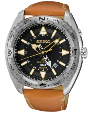 Seiko Men's Prospex Kinetic Gmt Brown Leather Strap Watch 46
