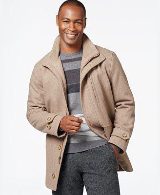 London Fog Big & Tall Wool-Blend Car Coat - Coats & Jackets - Men ...