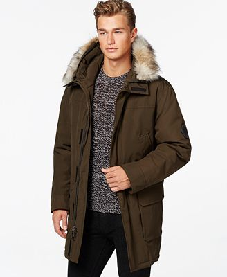 Calvin Klein Big & Tall Faux-Fur Hooded Jacket