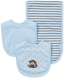 Little Me Baby Boys 3-Piece Monkey Bibs & Burp Cloth Set