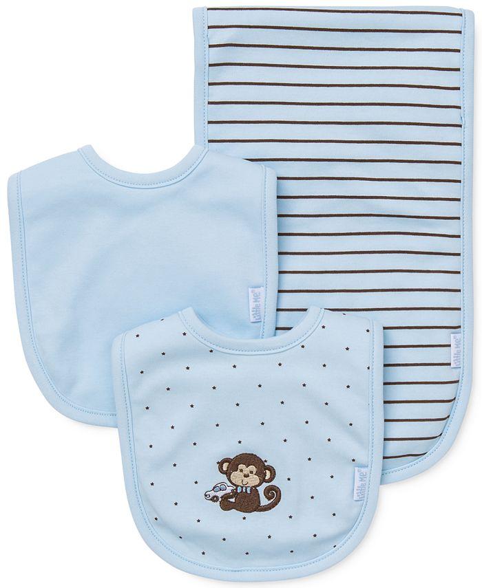 Little Me - Baby Boys' 3-Piece Monkey Bibs & Burp Cloth Set