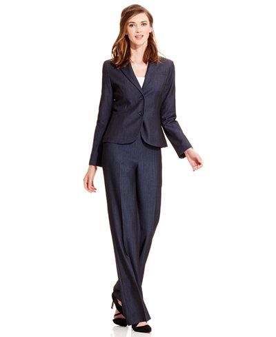 Anne Klein Faux-Denim Blazer & Suiting Pants