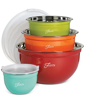 Fiesta Stainless Steel 8 Pc Lidded Mixing Bowl Set