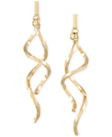 Double Twist Drop Earrings in 14k Gold