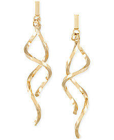 Italian Gold Double Twist Drop Earrings in 14k Gold