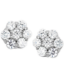 Wrapped in Love™ Diamond Cluster Flower Stud Earrings (1/2 ct. t.w.) in 14k White Gold, Created for Macy's