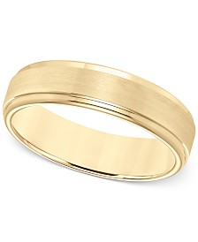 Comfort Fit 6mm Wedding Band In Yellow Tungsten Carbide